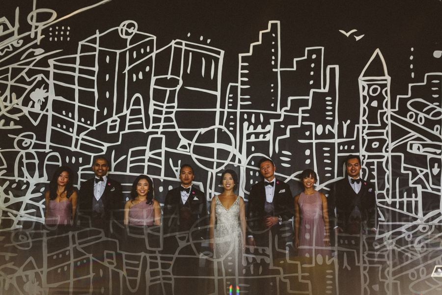 Prism of wedding party at Thompson Hotel Wedding