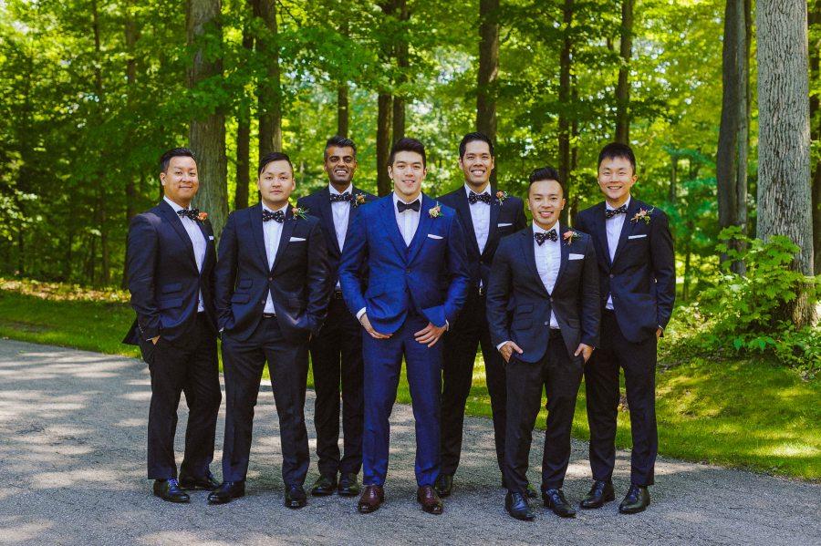 groomsmen portrait at Pheasent Run Golf Course Wedding