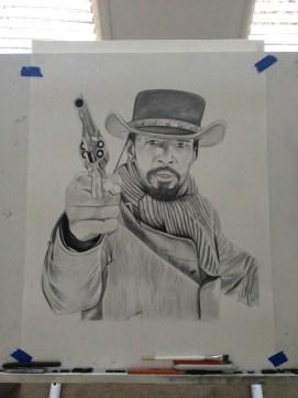 Jamie Foxx as Django - Charcoal drawing
