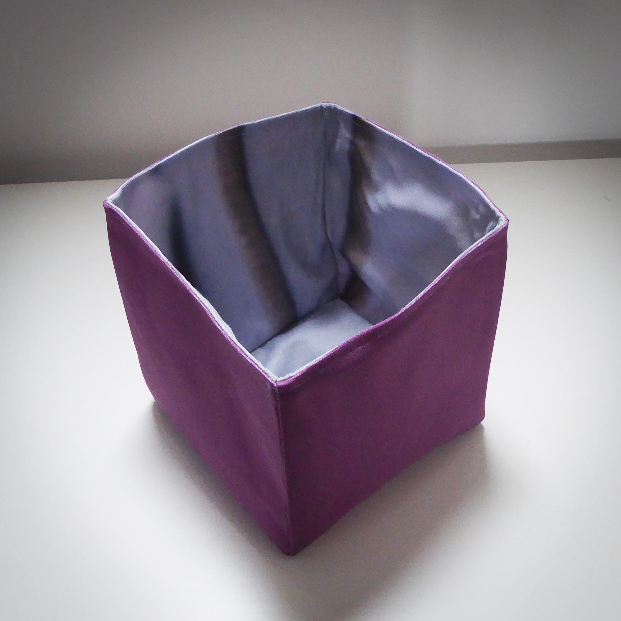 Handmade Fabric Square Box, Dusty Purple / Grey Stripe