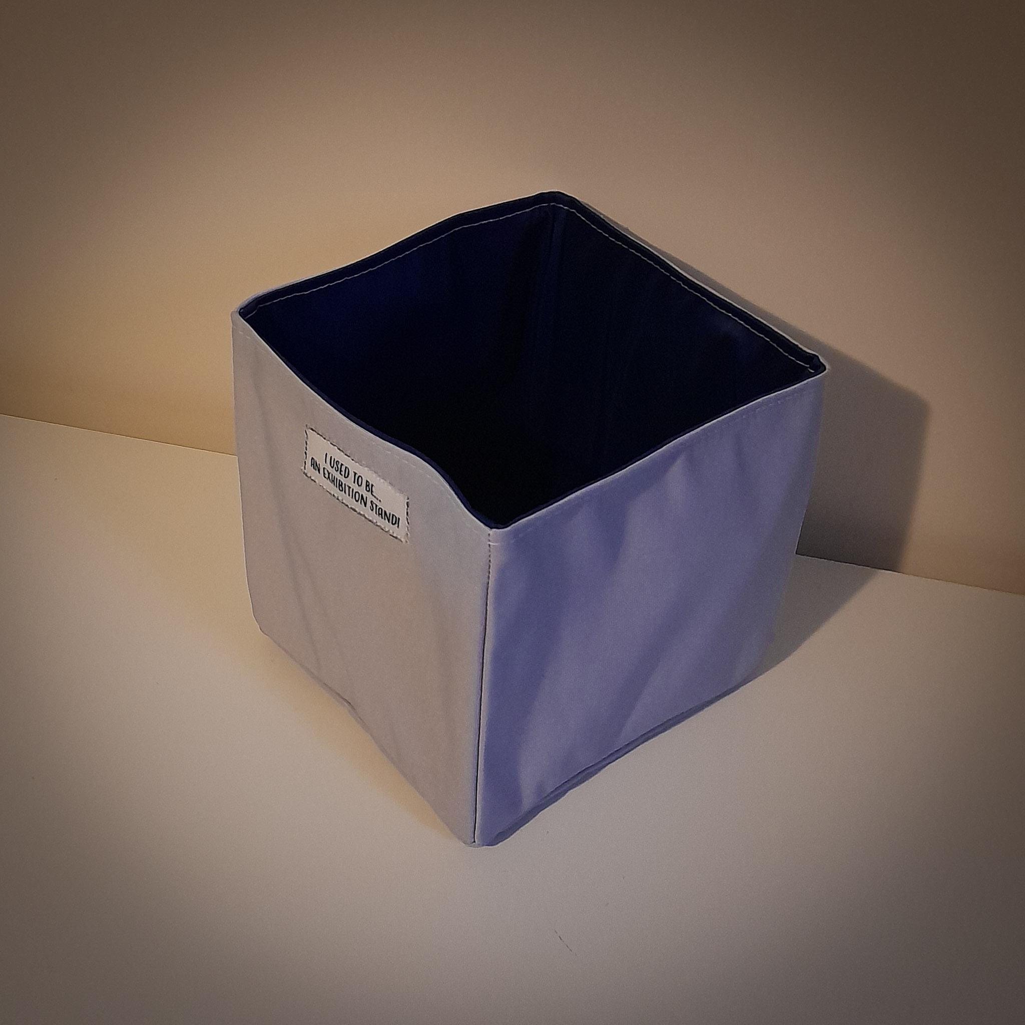 Handmade Fabric Square Box, Grey / Dark Blue