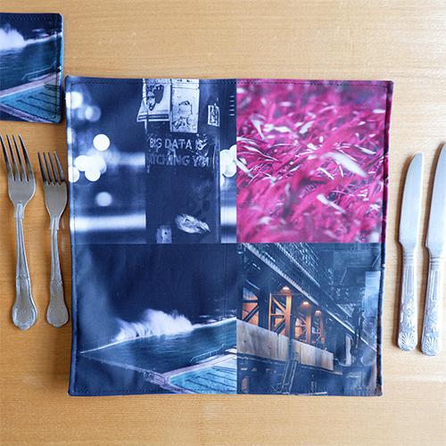 Handmade Fabric Reversible Place Mat, Pink/Blue