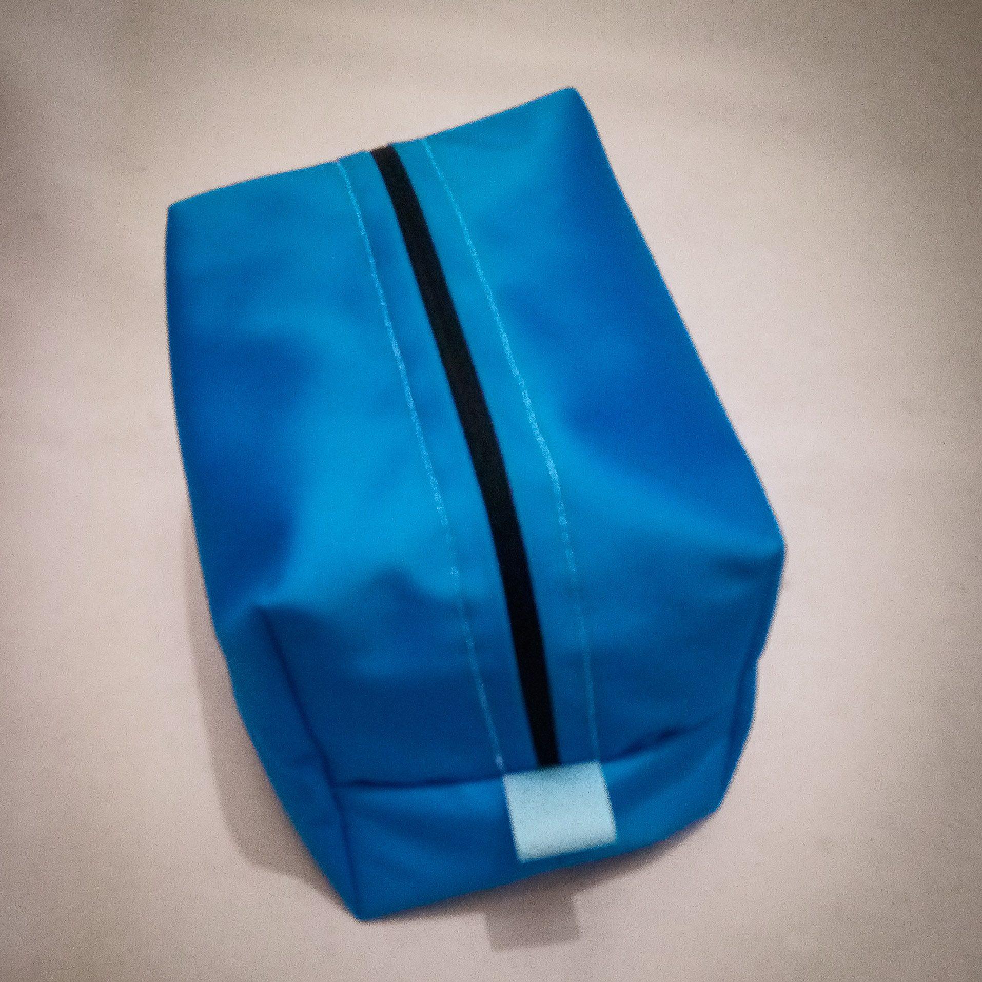 Handmade Fabric Lined Pencil Case/Wash Bag, Blue/Pale Blue