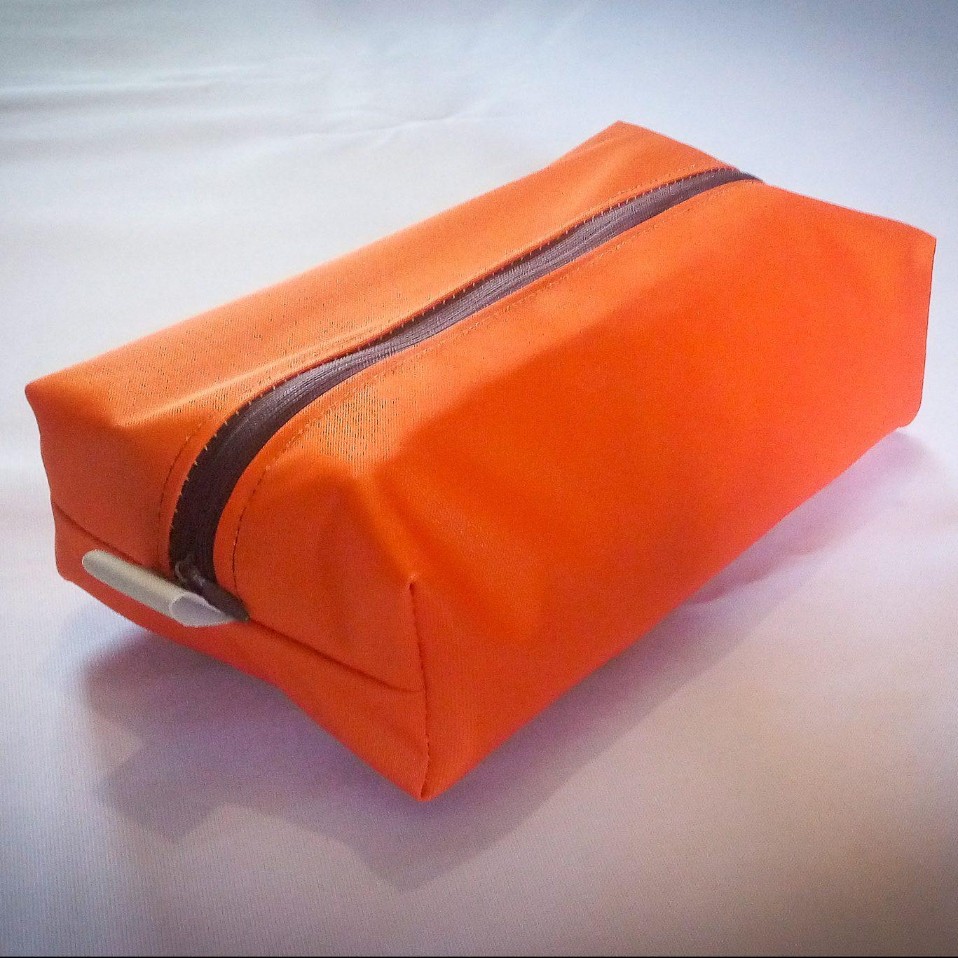 Handmade Fabric Pencil Case/Makeup Bag, Orange/Brown