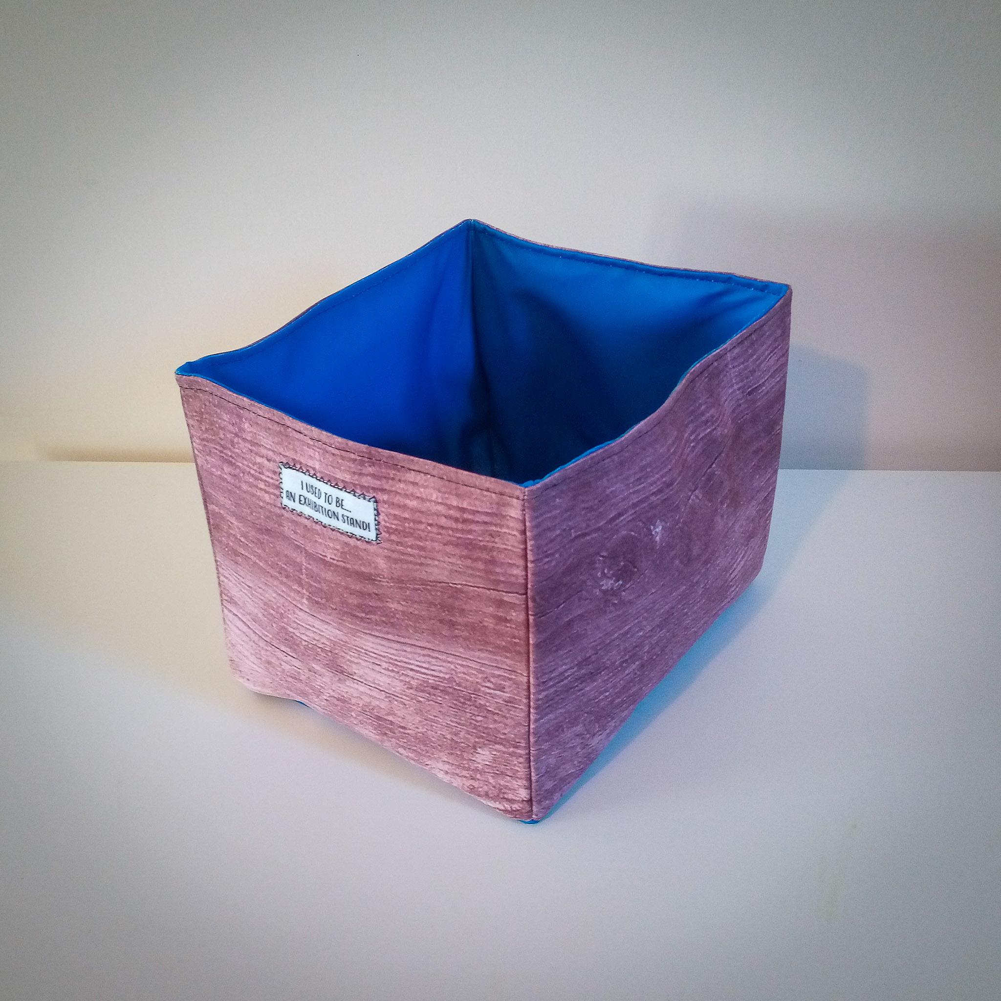 Handmade Fabric Rectangular Box, Wood/Dark Blue