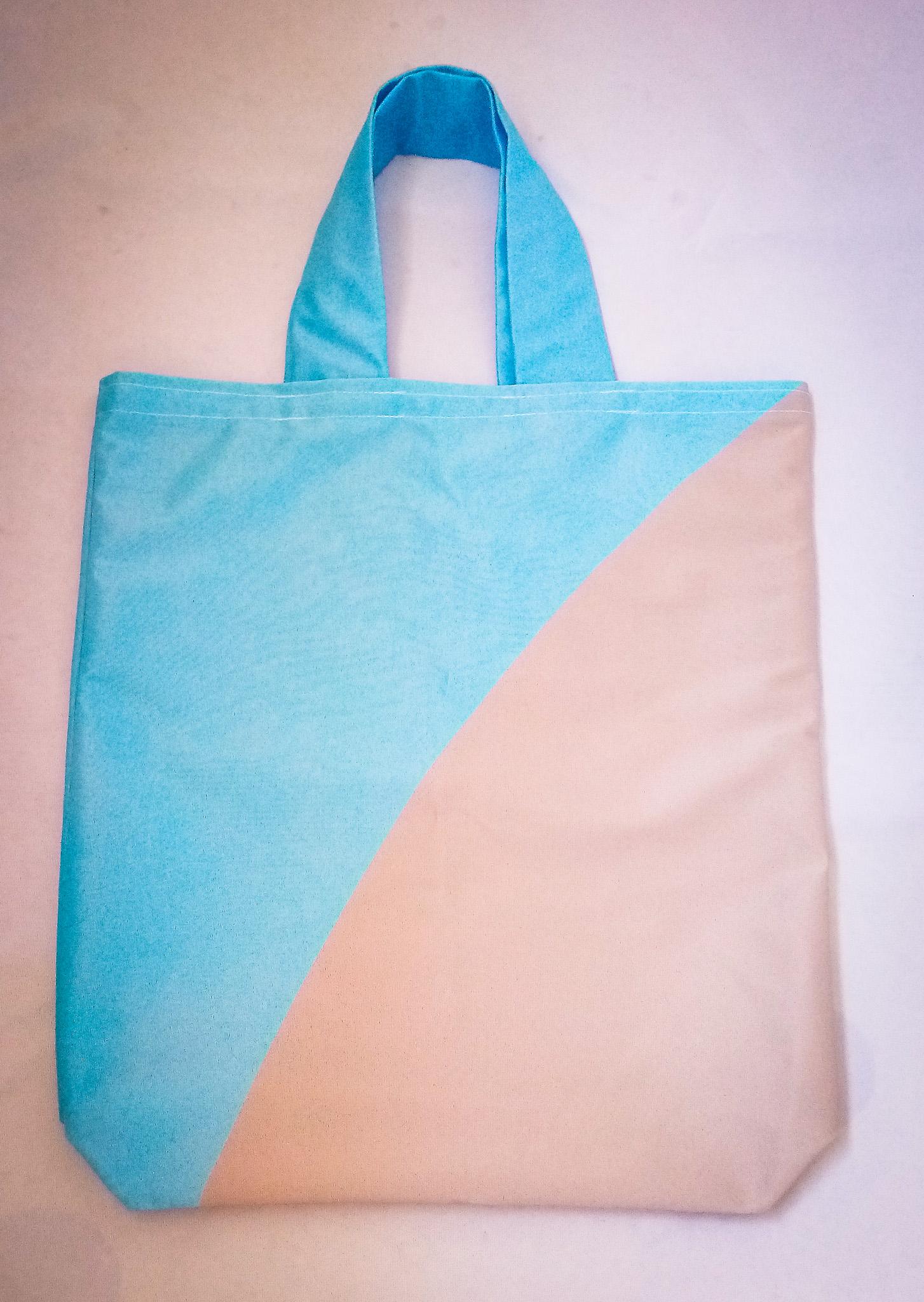 Handmade Fabric Tote Bag, Blue & Beige