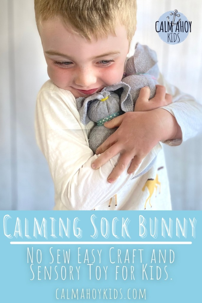 calming sock bunny craft and sensory toy for kids