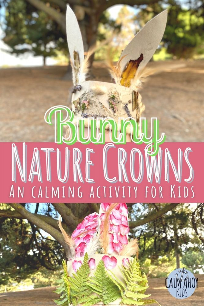 Nature bunny crown craft for kids.