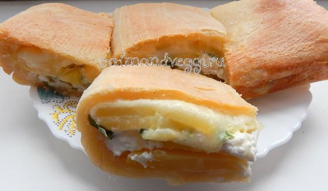 Слоеный пирог с картофелем и сыром под сливками. Пошаговый рецепт с фото.