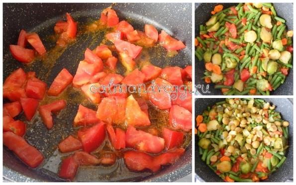 Вегетарианская солянка из стручковой фасоли и брюссельской капусты рецепт с фото