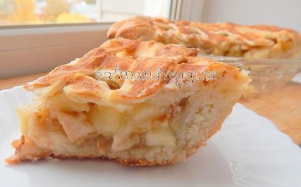 Дрожжевой яблочный пирог без яиц постный