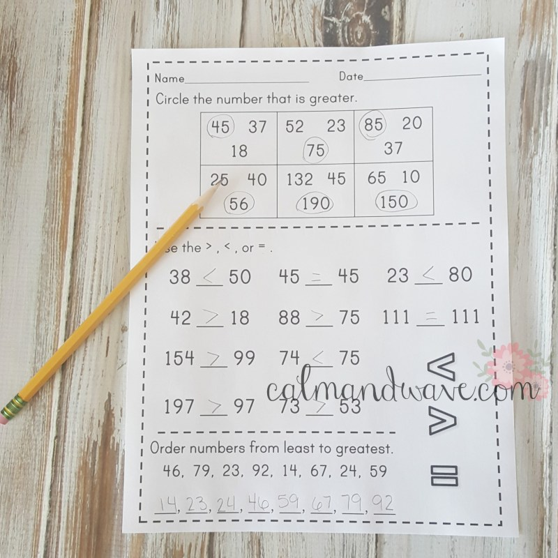 Free Greater Than, Less Than, and Equal To Printable Worksheet