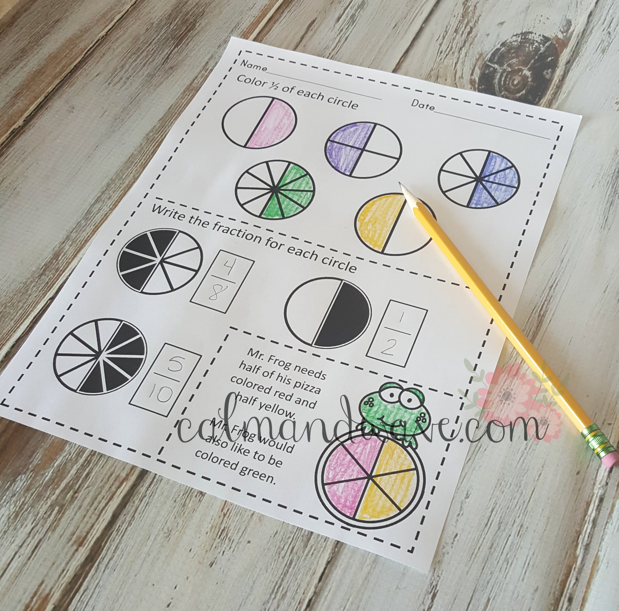 Free One Half Fraction Printable Worksheet