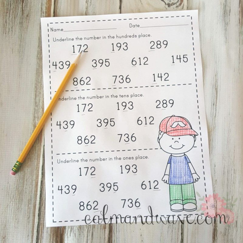 Free Place Value Ones, Tens, and Hundreds Printable Worksheet