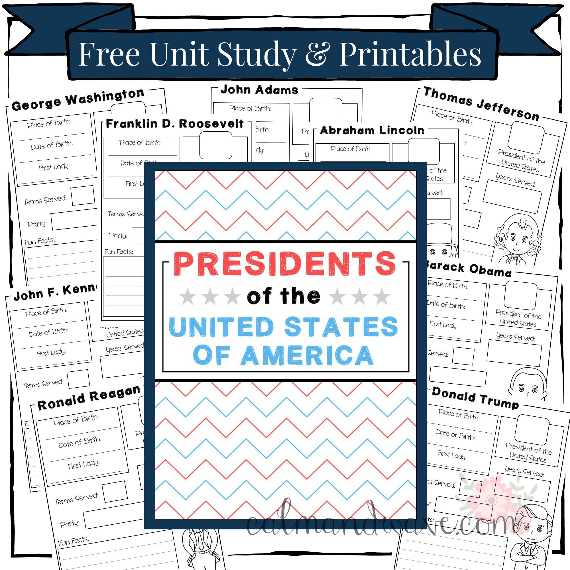 homeschool unit study american presidents social studies