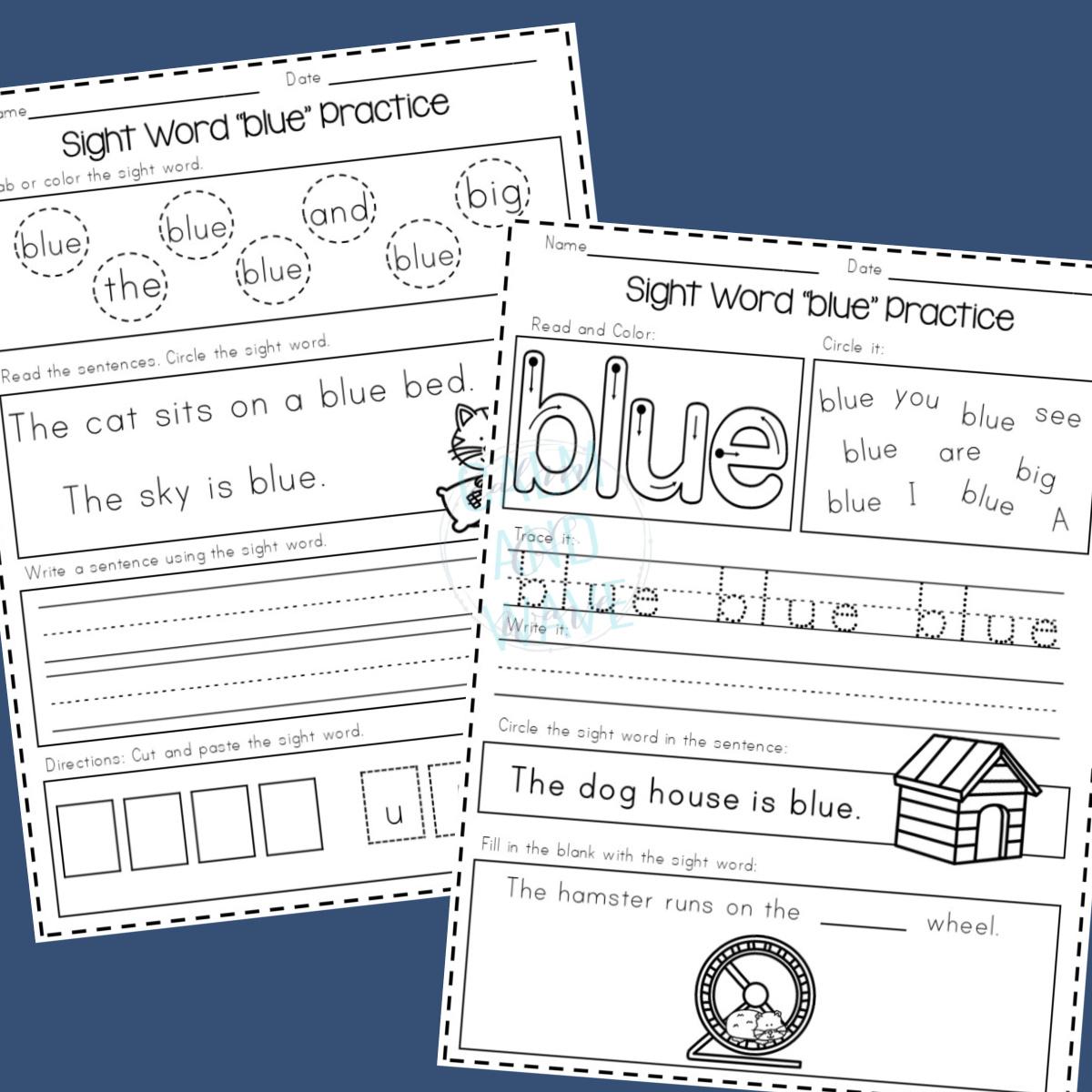 Pre-Primer Sight Word Worksheets for Preschool [ 1024 x 1024 Pixel ]