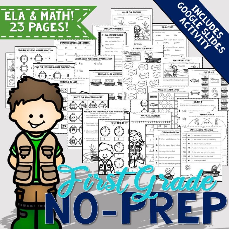 First Grade No-Prep Fishing Themed ELA And Math Printable Worksheets WITH  Interactive Digital Activity Calm & Wave