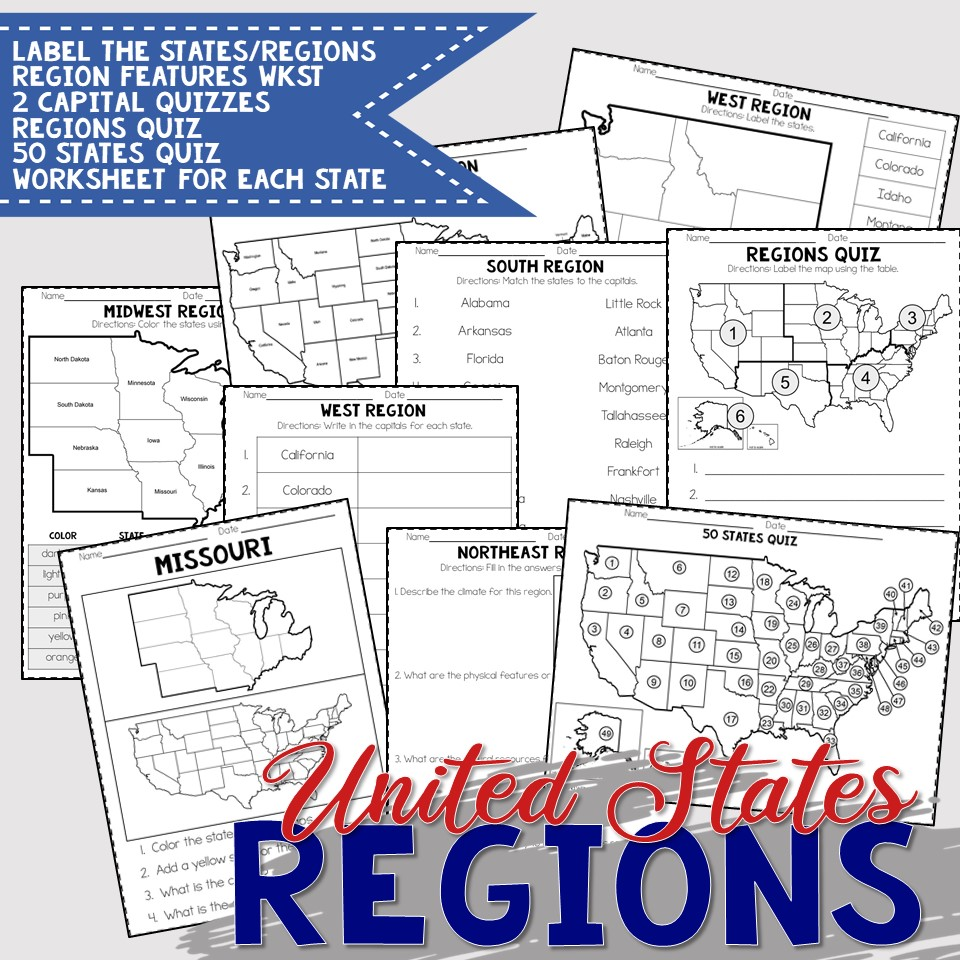United States Regions Worksheets and Printables   Homeschool   Geography    4th [ 960 x 960 Pixel ]