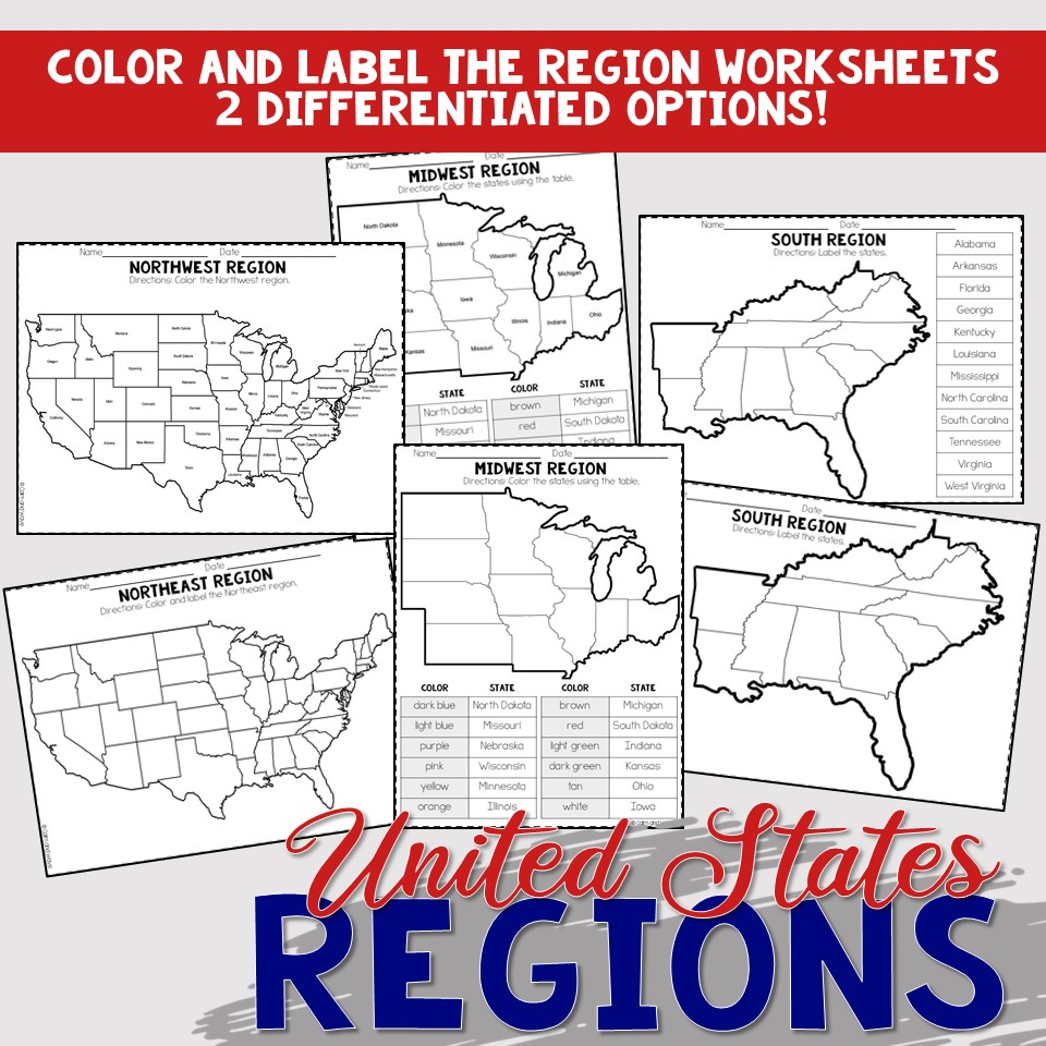 medium resolution of United States Regions Worksheets and Printables   Homeschool   Geography    4th