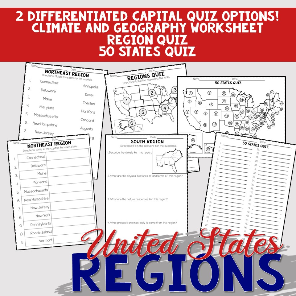 small resolution of United States Regions Worksheets and Printables   Homeschool   Geography    4th