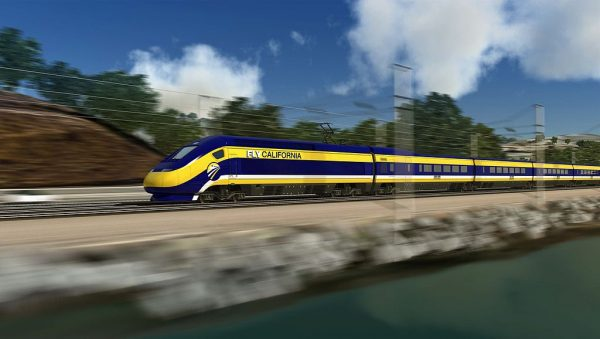 Computer-generated image of the proposed high-speed trains for use in California. Photo via California High-Speed Rail Authority