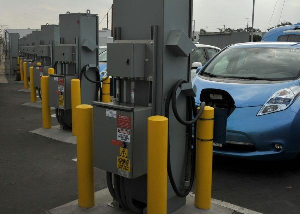 Airmen from Los Angeles Air Force Base make use of charging stations for its electric vehicle fleet. Photo by Sarah Corrice via U.S. Air Force