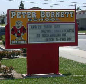 Sign outside Peter Burnett Elementary School in Hawthorne, California.