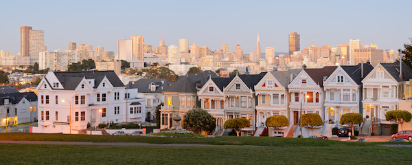 """Painted Lady"" Victorians in San Francisco. Photo via Wikimedia"