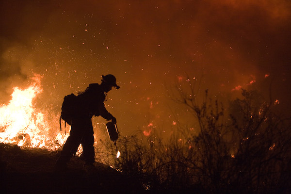 Fire crew fighting wildfire at night.