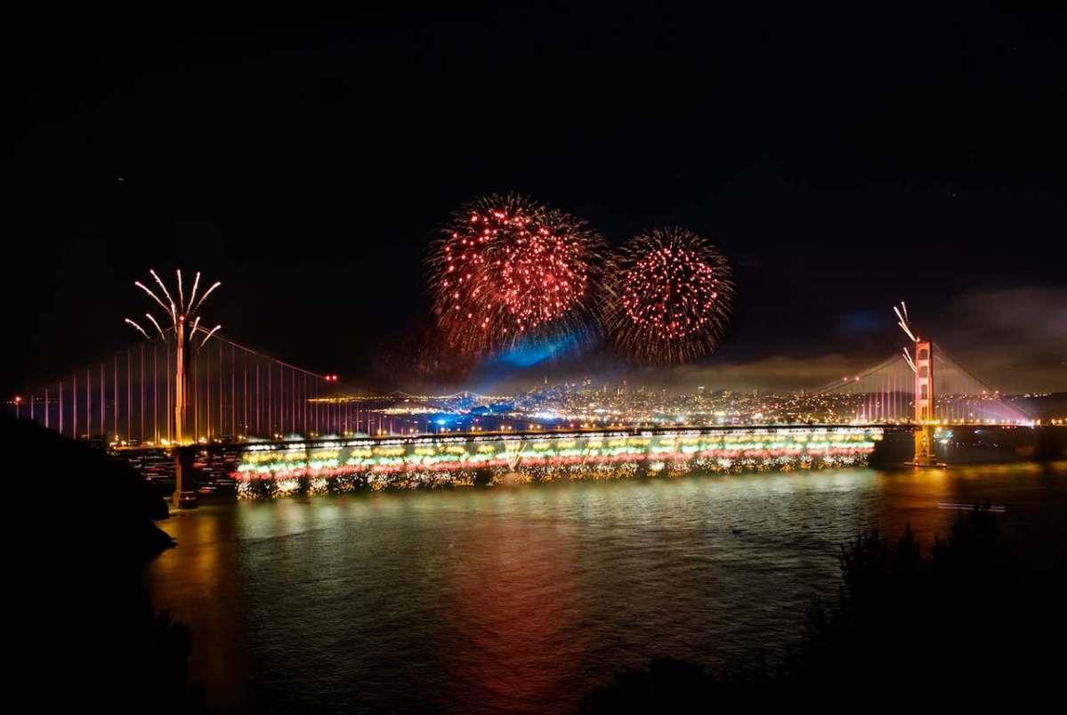 Fireworks over the Golden Gate Bridge