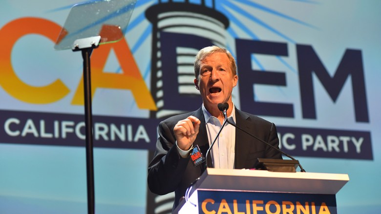 Billionaire activist Tom Steyer, who unleashed a national ad blitz calling for the impeachment of President Trump, was a featured speaker at the California Democratic Party's convention. Photo by Chris Stone, courtesy of TimesOfSanDiego.com