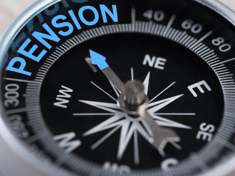 A compass indicating the position of public pensions is show.