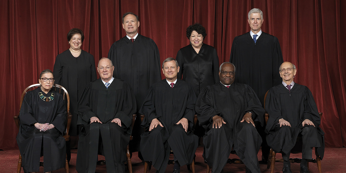The nine justices of the United States Supreme Court are shown.