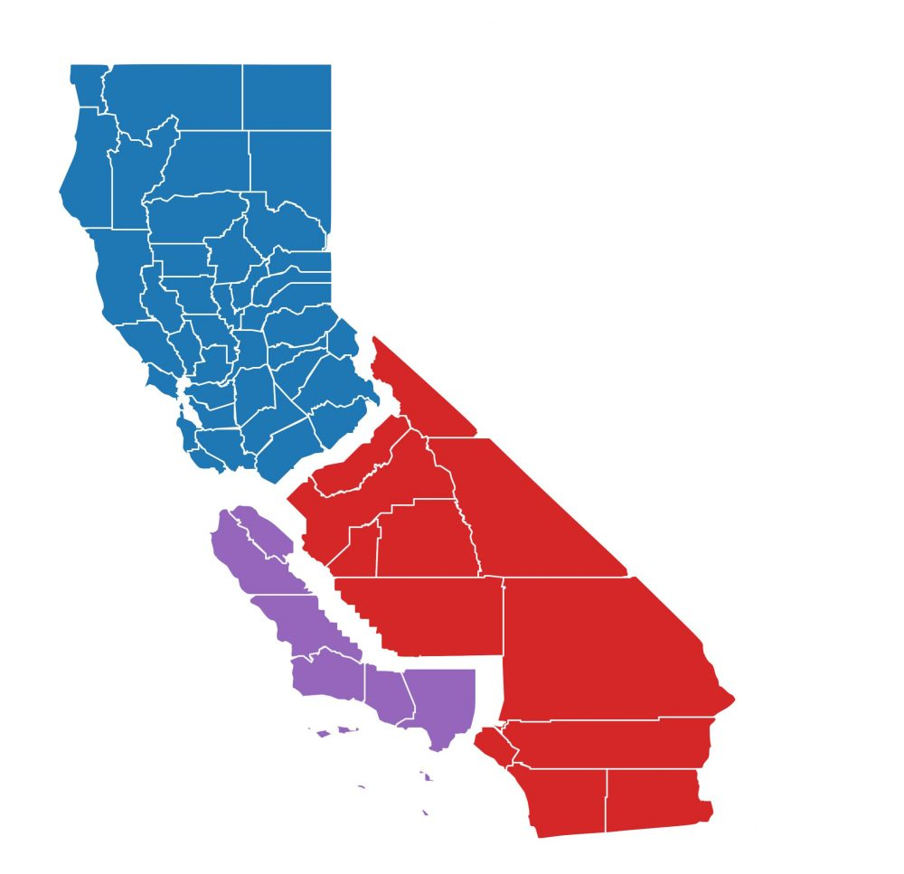 A map of California showing how it would be divided into three separate states under the Three Californias initiative