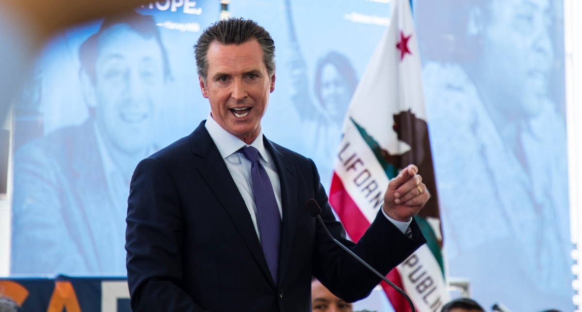 Lt. Gov. Gavin Newsom speaks after a formal endorsement from the California Democratic Party. Environmental policy could play an important role in the gubernatorial race between Newsom and John Cox.
