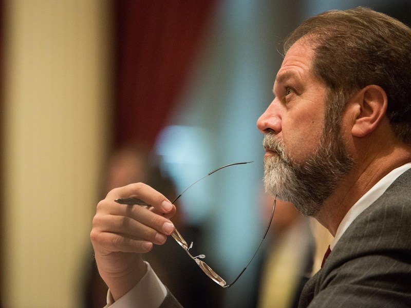 Senator John Moorlach, Republican of Irvine, in the Senate chambers. Photo by Max Whittaker for CALmatters