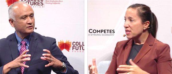 Lt. Gov. candidates Ed Hernandez and Eleni Kounalakis debate in San Francisco.