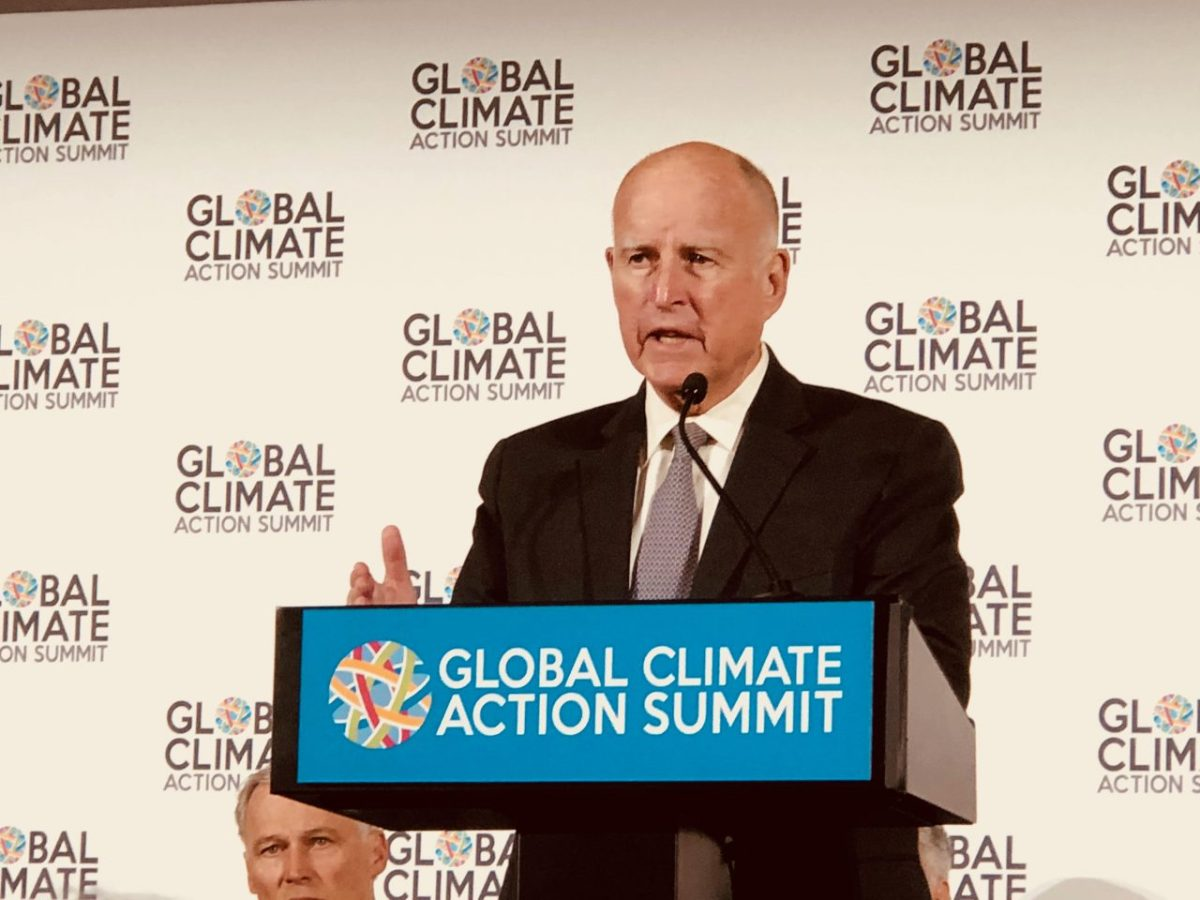 Gov. Jerry Brown speaks at the climate conference he hosted in San Francisco. Photo by Julie Cart/CALmatters