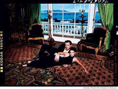 "Critics still circulate this Harpers Bazaar fashion spread of Newsom and his first wife, dubbed ""The New Kennedys,"" in designer clothes in Ann Getty's mansion."