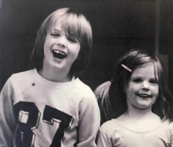Gavin Newsom, with his little sister, Hillary, recalls being raised by a single mother who struggled, and a sometimes distant father with rich connections. Photo via Gavin Newsom