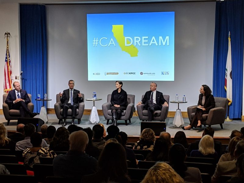 Mayors (from left to right) Faulconer, Garcetti, Schaaf and Steinberg and CALmatters reporter Laurel Rosenhall at a forum to discuss responses to California's homeless population.
