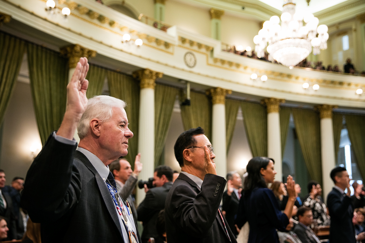 California prides itself on diversity—but in many ways the Legislature looks more like the California of 30 years ago than the California of today. Photo of swearing in by Max Whittaker