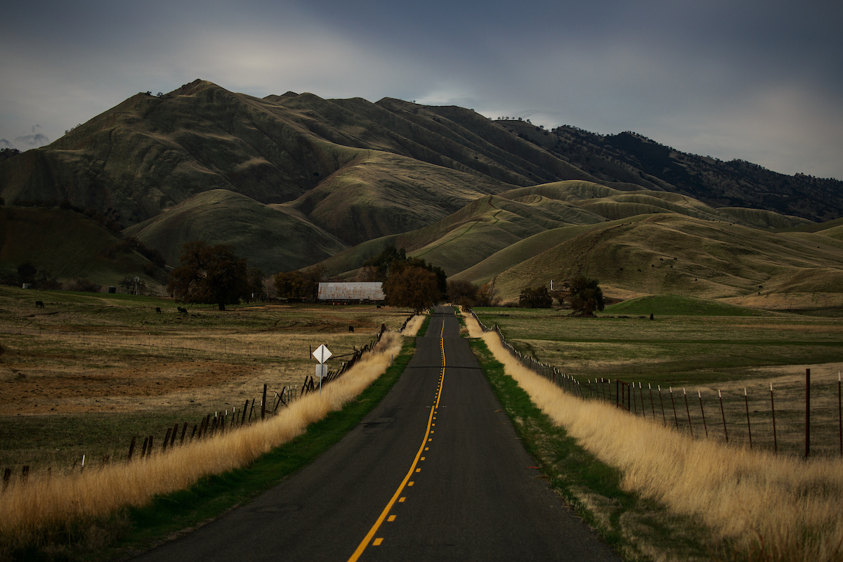 Photo of Leesville Road outside Williams, Colusa County, California, where Gov. Jerry Brown will retire, December 17, 2018. Photo by Max Whittaker for CALmatters