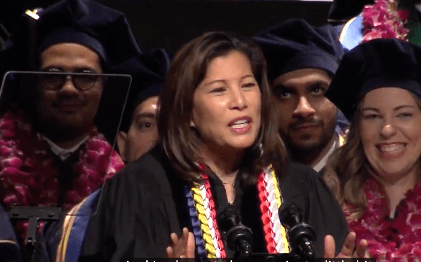 California Chief Justice Tani G. Cantil-Sakauye gives the keynote address at the UC Davis School of Law commencement ceremony, May 19, 2018.