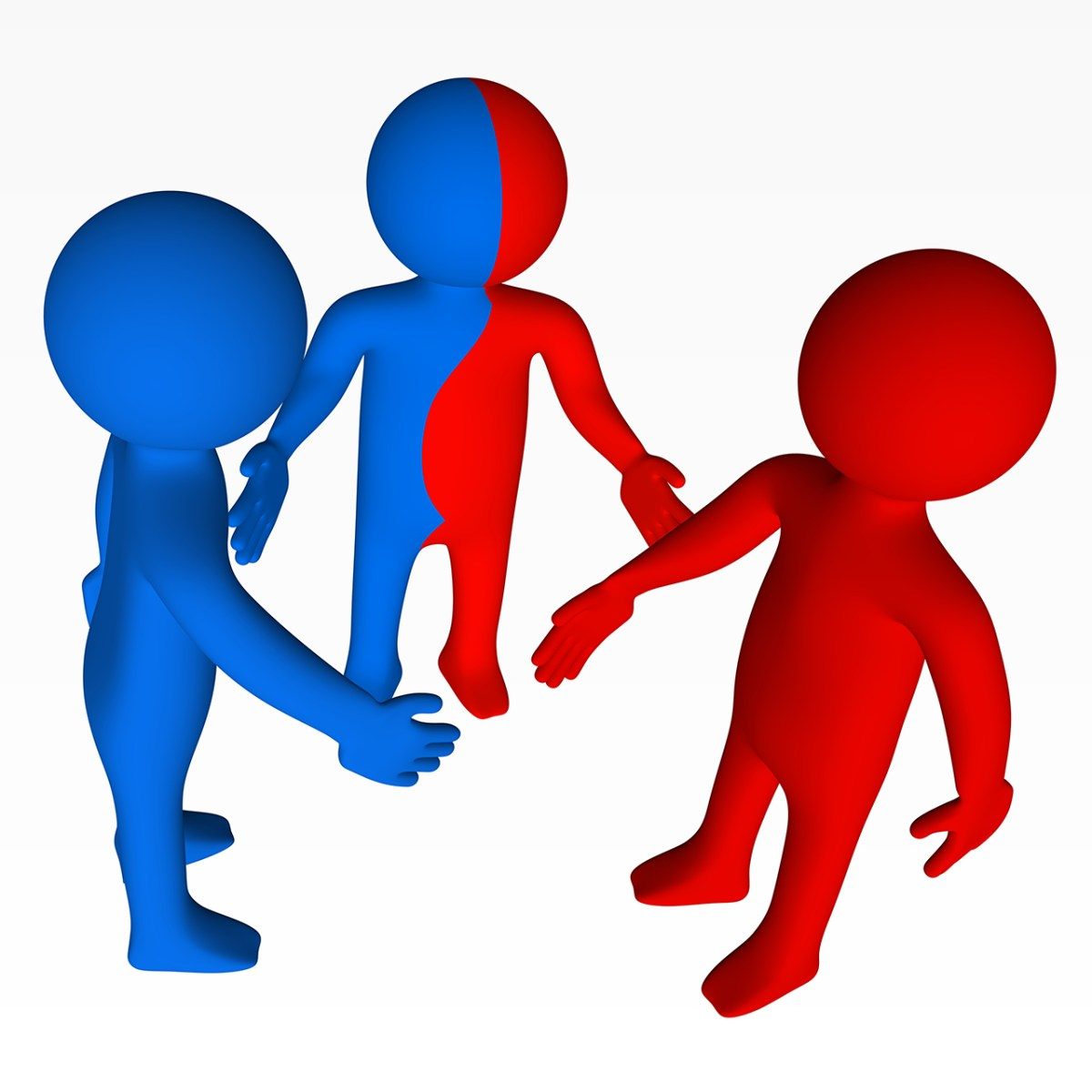illustration of three individuals: one red, one blue, one red and blue