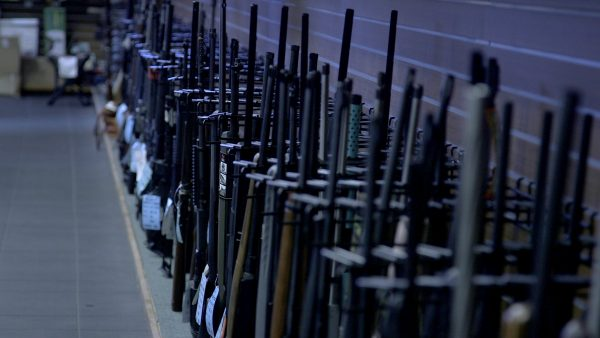 Rifles at a California gun store. Dublin, California. A federal judge overturned the state's ban on assault weapons.