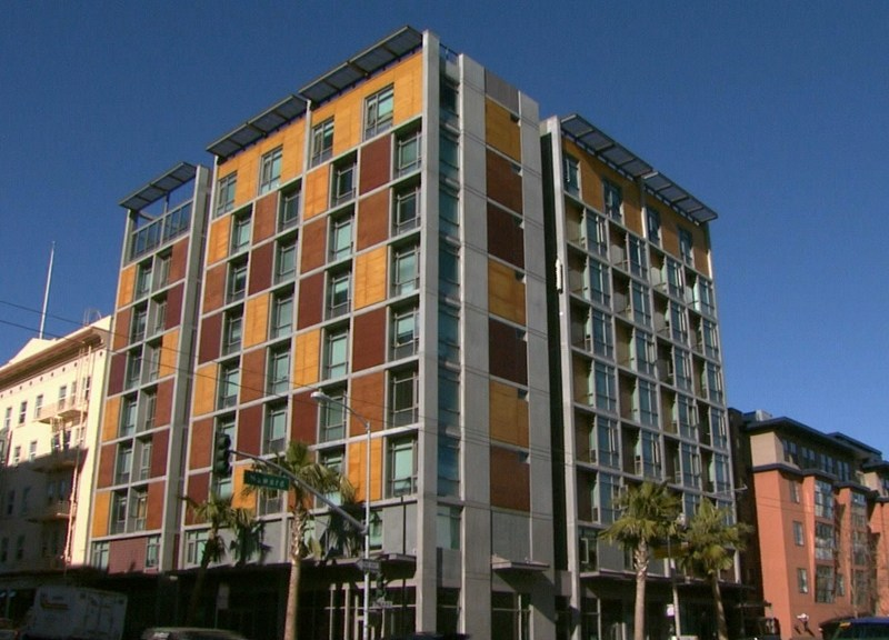The Plaza Apartments in downtown San Francisco. Multiple tenant protection bills face key votes next week.