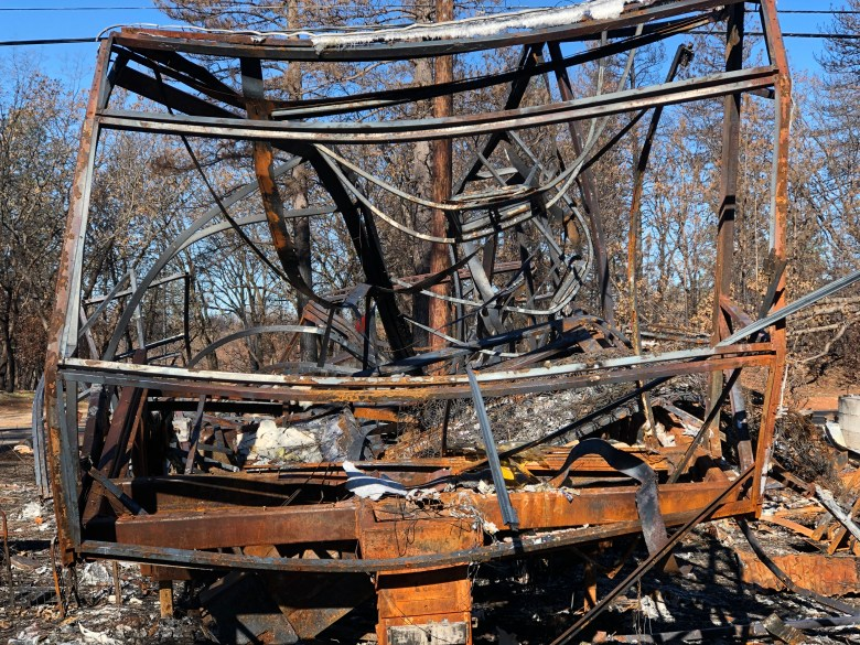 Burned trailer from the 2018 Camp Fire in Paradise, California. March 2019. Photo by Byrhonda Lyons/CALmatters.