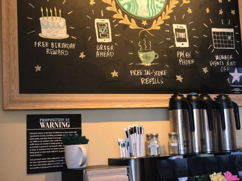 A posted Prop. 65 sign at a Starbucks coffee shop in Burbank, Calif. after a judge ruled that coffee companies failed to show that coffee's benefits outweighed risks. After pushback, a pending state rule gives coffee a pass. File photo by Damian Dovarganes, Associated Press.
