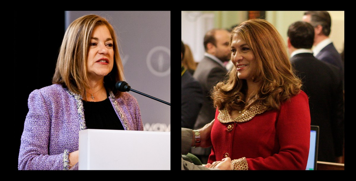 Left: Former Congresswoman Loretta Sanchez. Right: California Assemblywoman Sharon Quirk-Silva. Photo of Sanchez by Third Way Think Tank via Creative Commons and photo of Quirk-Silva by Steve Yeater for CALmatters